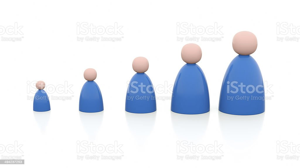 Illustration of 5 persons, from small to big stock photo