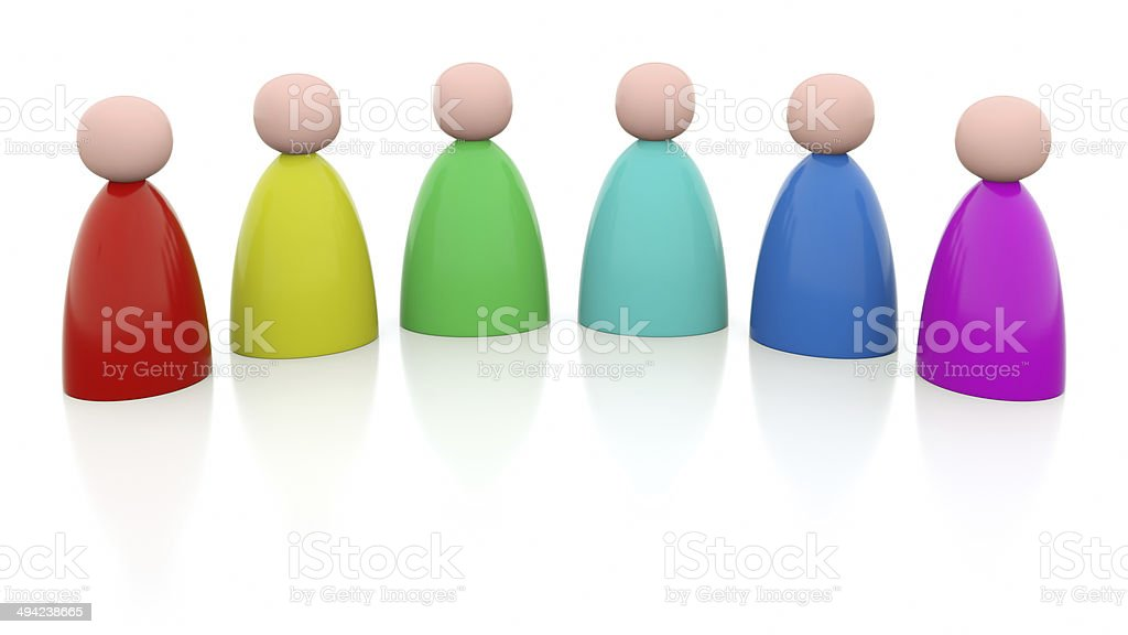 Illustration of 6 persons with rainbow colors stock photo