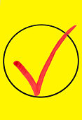 Illustration of a affirmative check mark on yellow background in 3D rendering