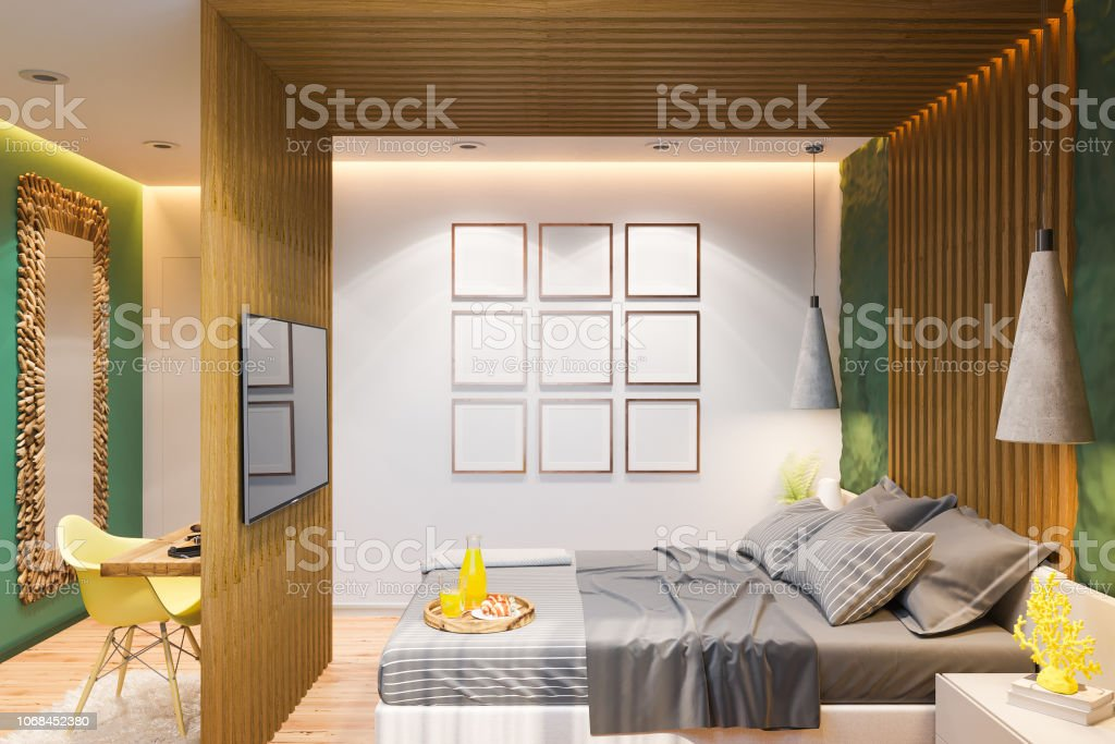 3d Illustration Of A Bedroom In A Private House In A Country ...