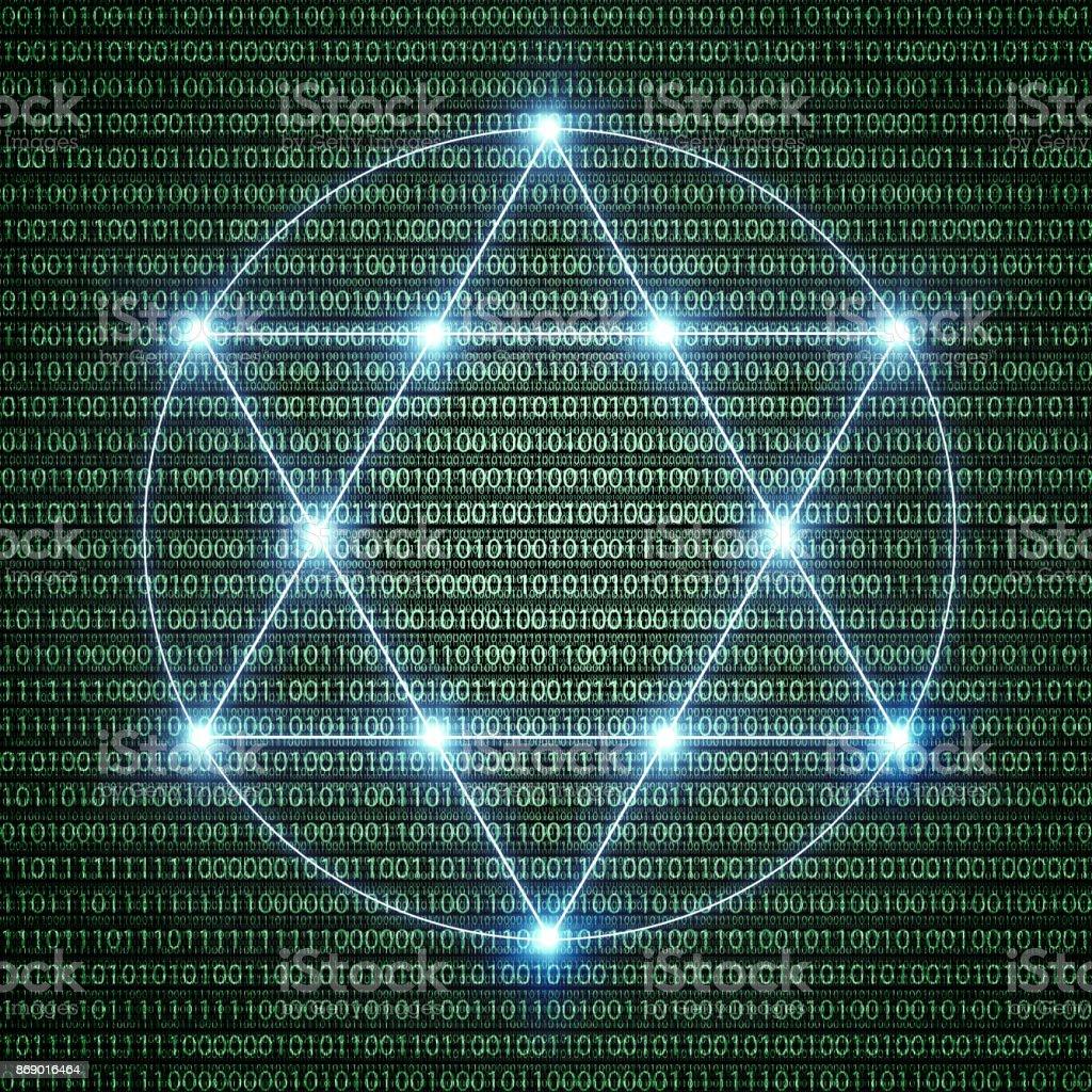 illustration of a binary pentagram symbol stock photo