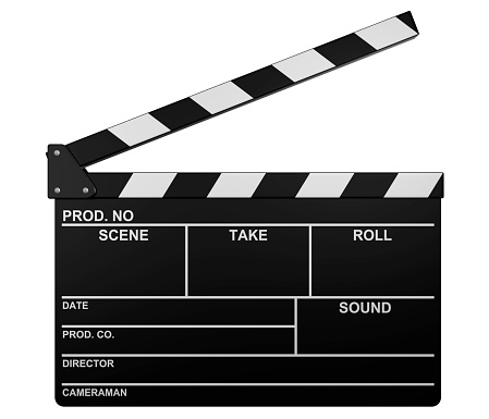 Film slate (clapperboard). High resolution and isolated on white background.