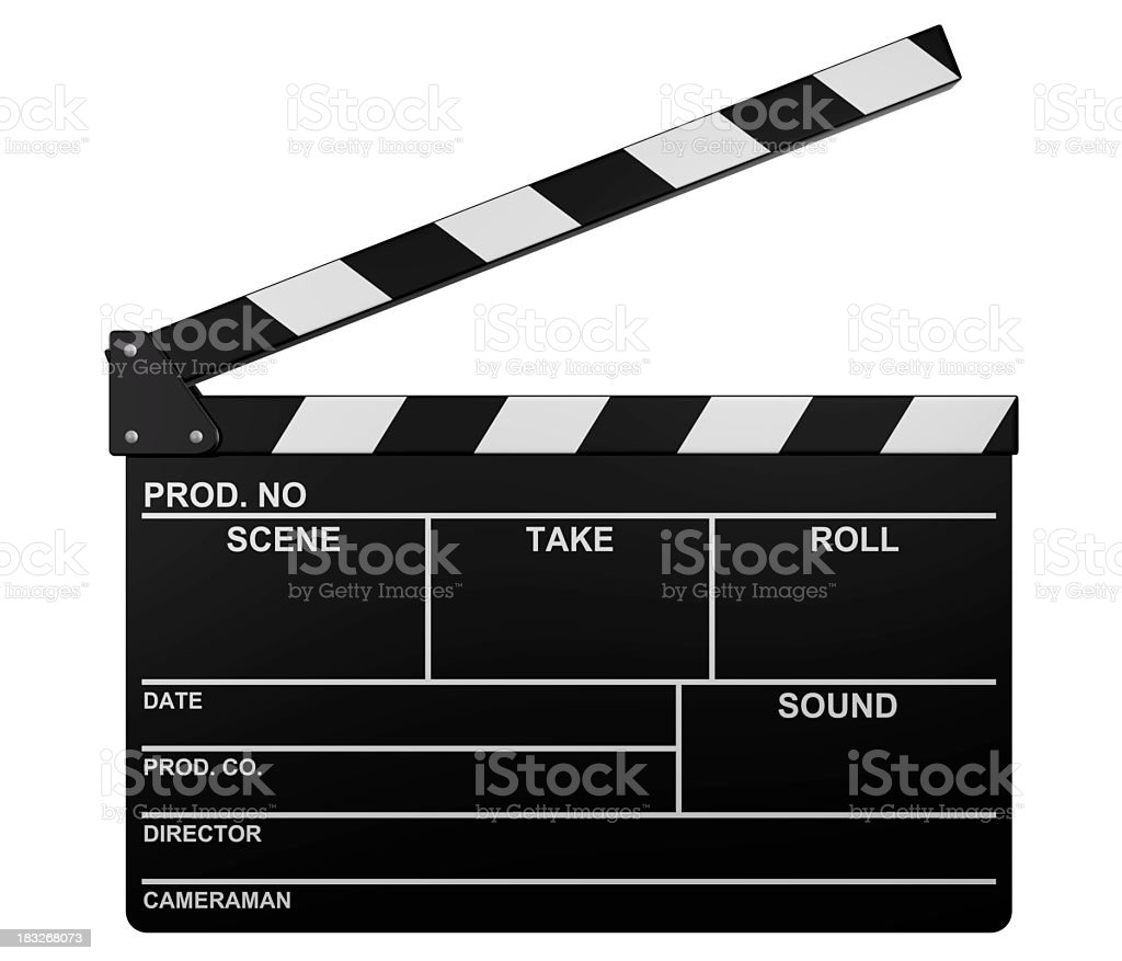 Illustration of a blank open film slate stock photo