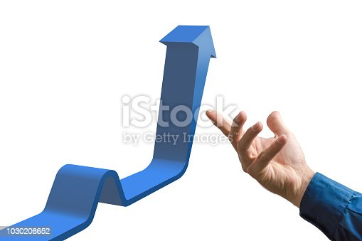 istock Illustration of a blue arrow pointing upwards on white background in 3D rendering with hand 1030208652