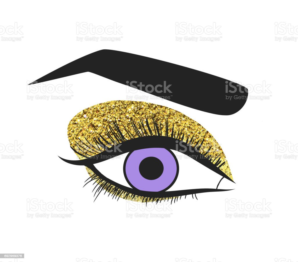 Illustration of a blue female eye isolated on white background, makeup with golden glitter. stock photo