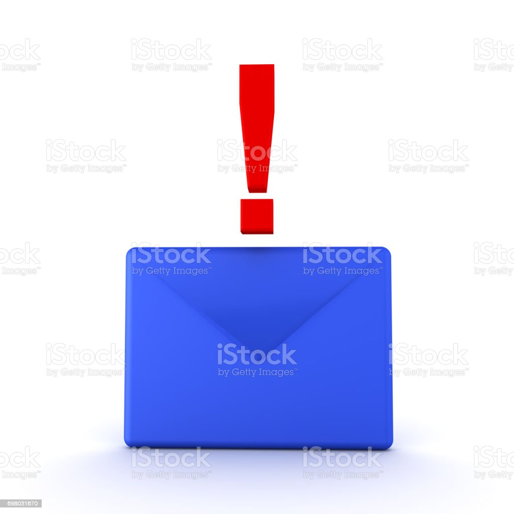 3D illustration of a blue mail envelope with red exclamation point on top stock photo