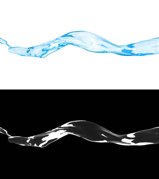 3D illustration of a blue water flow stock photo