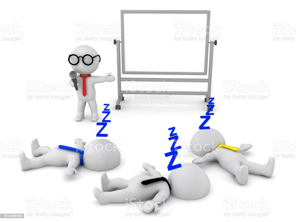 3D illustration of a boring presentation which puts people to sleep stock photo