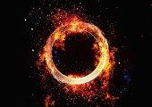 3D illustration of a burning metal ring