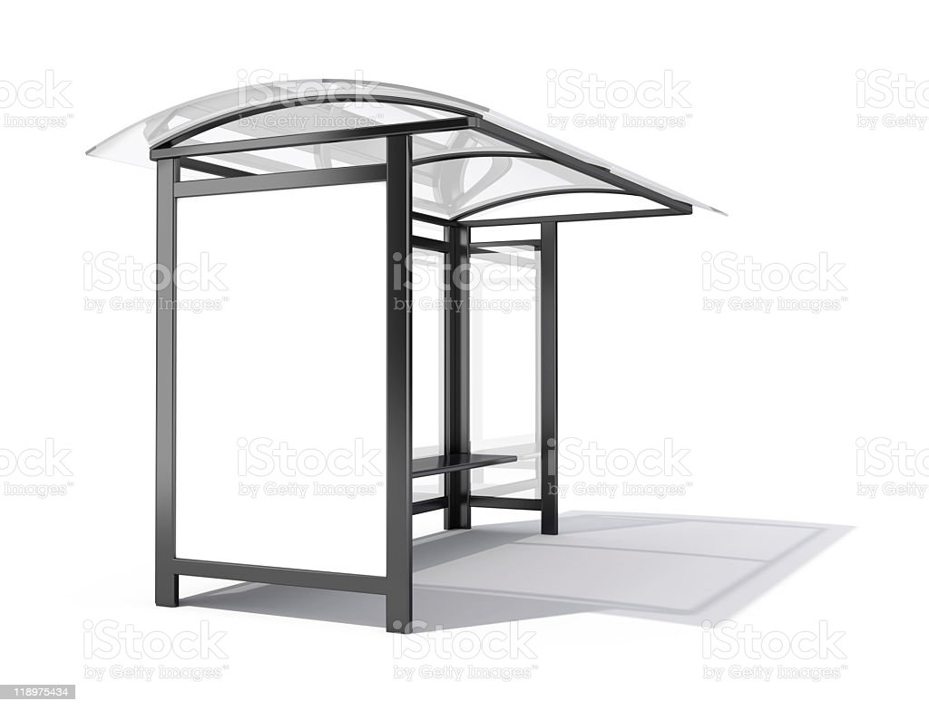 3D illustration of a bus stop with a blank billboard stock photo