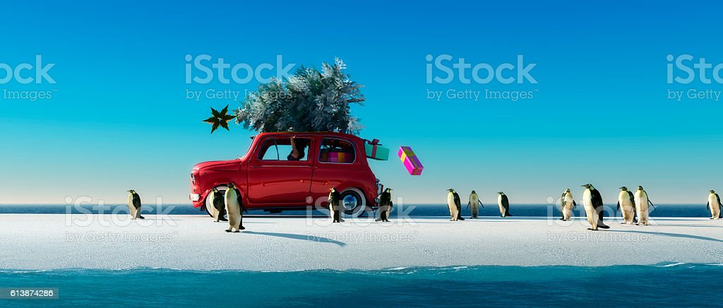 illustration of a car with a Christmas tree stock photo