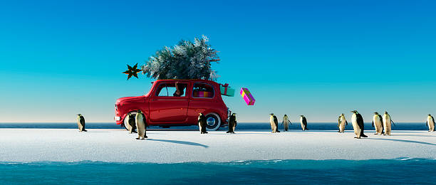 illustration of a car with a christmas tree - deko koffer stock-fotos und bilder