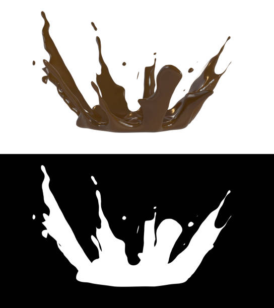 3D illustration of a chocolate splash with alpha layer stock photo