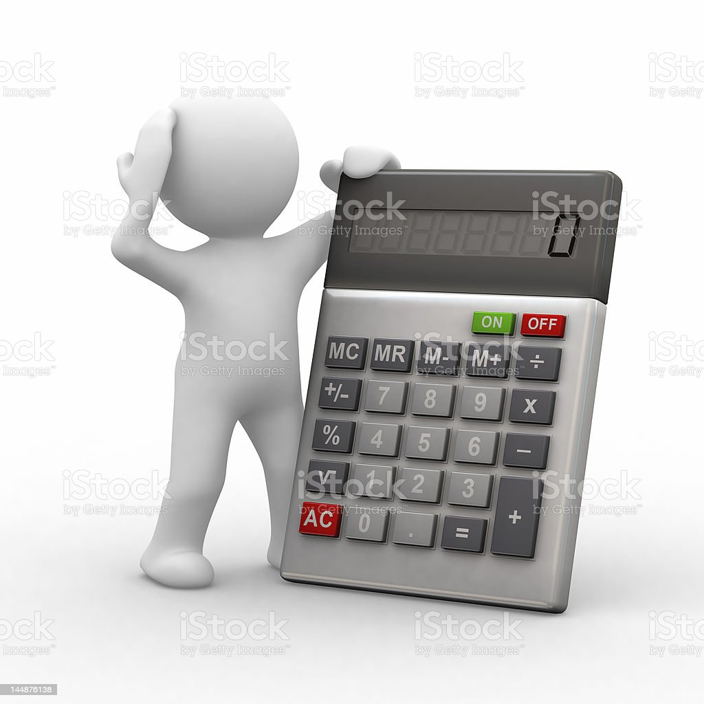 Illustration of a confused cartoon with a calculator royalty-free stock photo