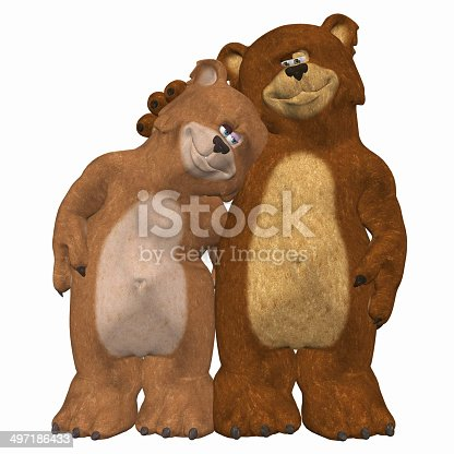 Illustration of a couple of bears in love isolated on a white background