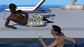 3d illustration of a couple relaxing with a man reclining while a woman swims in a swimming pool at a resort setting.