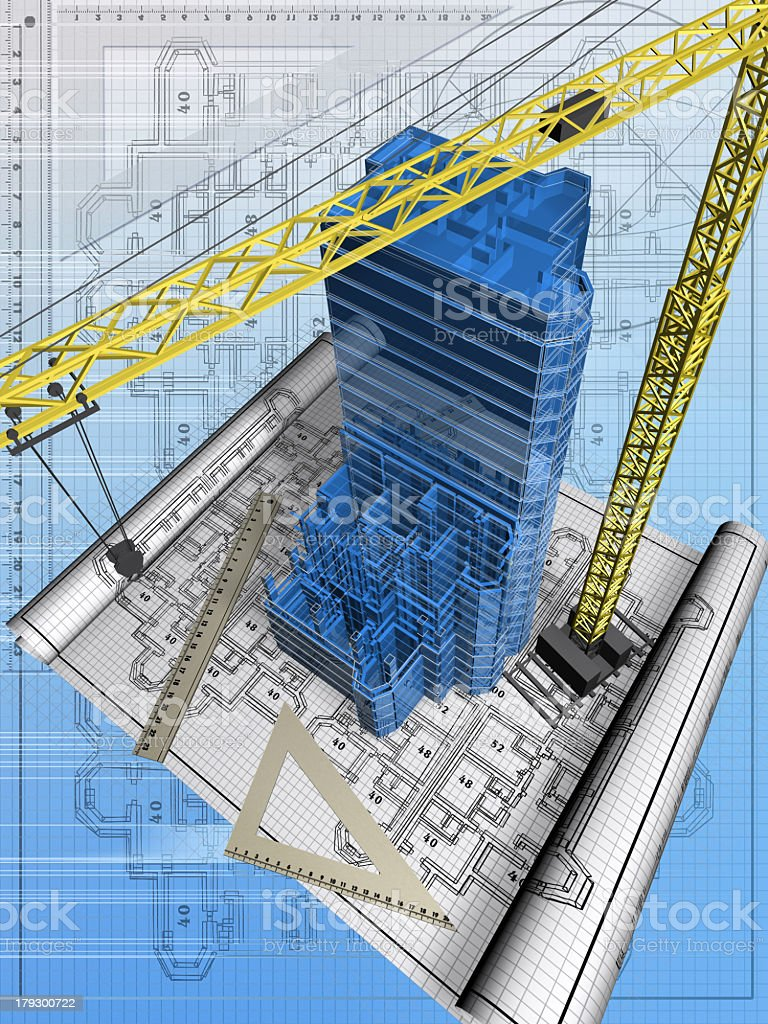 Illustration of a crane and a building being built on plans royalty-free stock photo