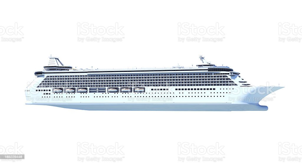 Illustration of a cruise ship on a blank background stock photo