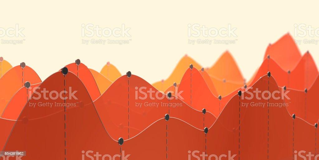3D Abbildung einer Kurve Diagramm oder Line-Grafik – Foto