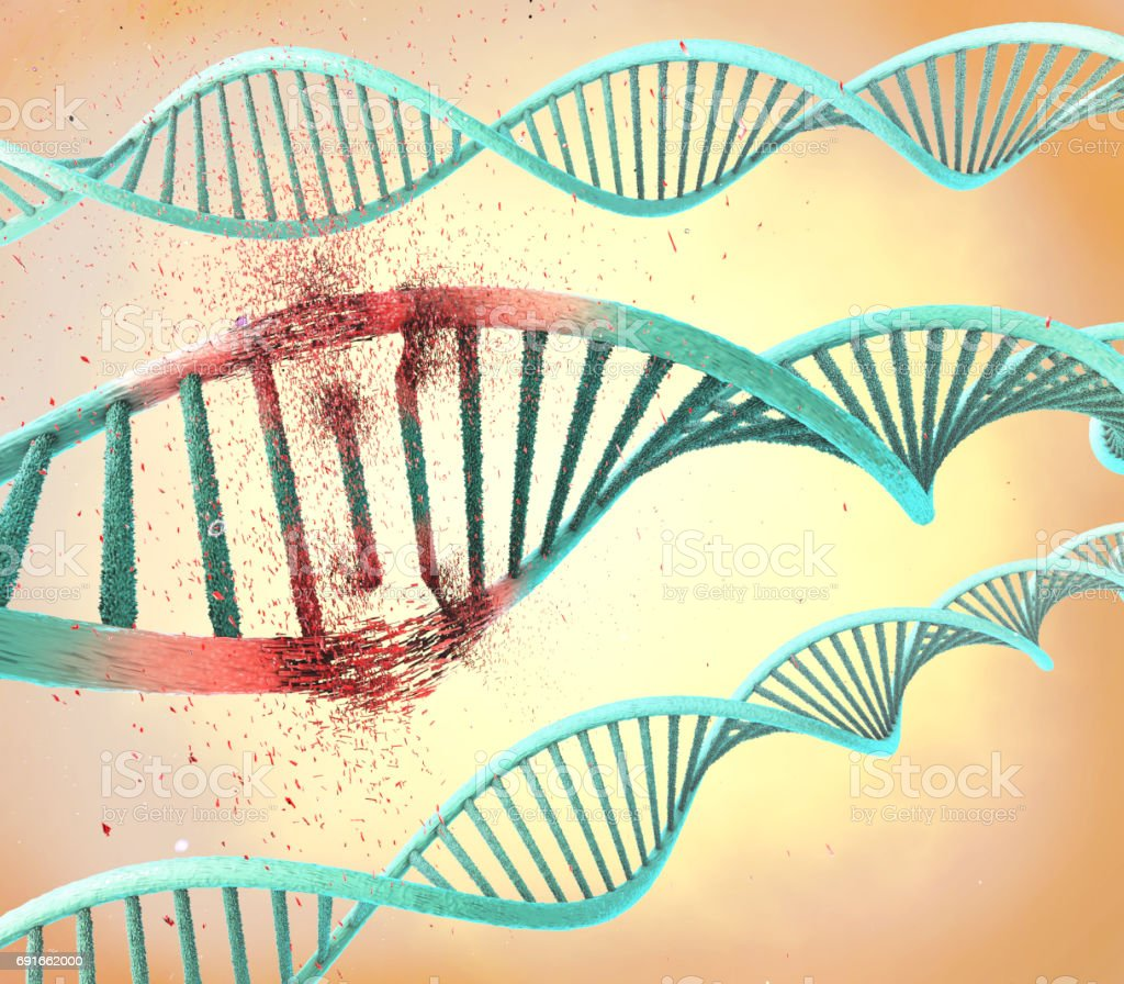 Illustration of a damaged ribonucleic acid or  dna strand stock photo