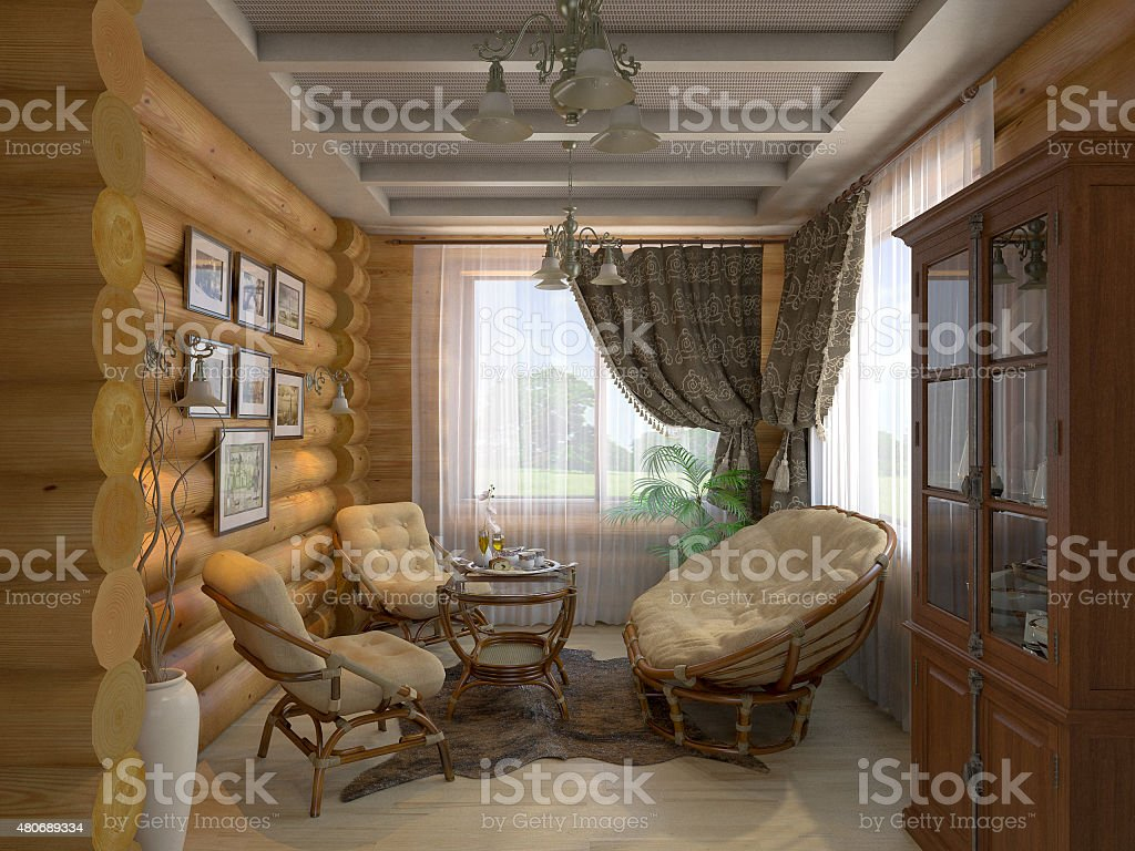3 D illustration des drawing room und der hall – Foto