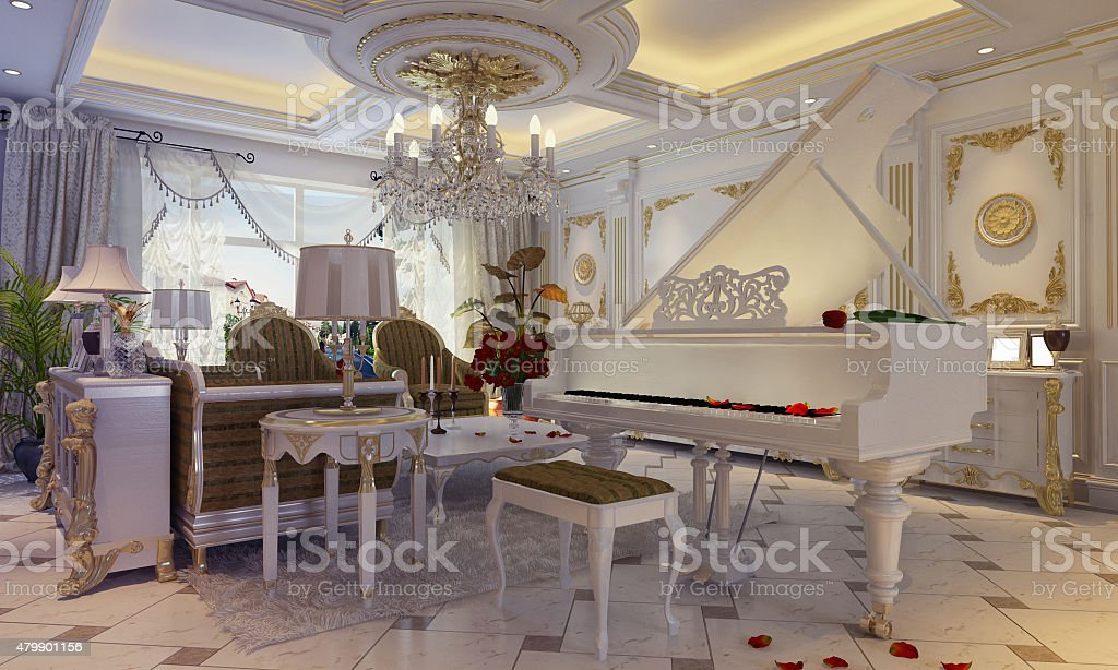 3D illustration of a drawing room in classical style stock photo
