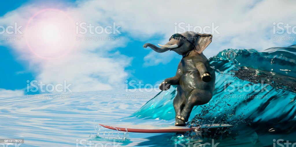 3d Illustration Of A Elephant Is Surfing The Sea As A Symbol Of