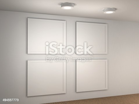 Illustration of a empty museum wall with 4 frames stock photo istock sciox Images