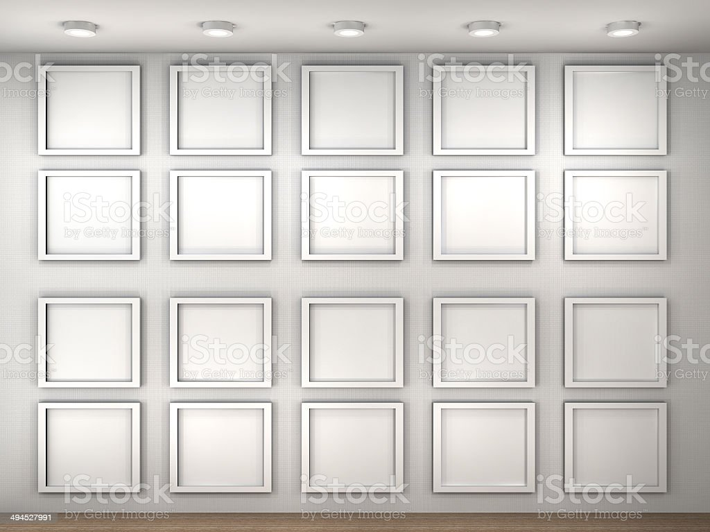 Illustration of a empty museum wall with frames stock photo istock illustration of a empty museum wall with frames royalty free stock photo sciox Images