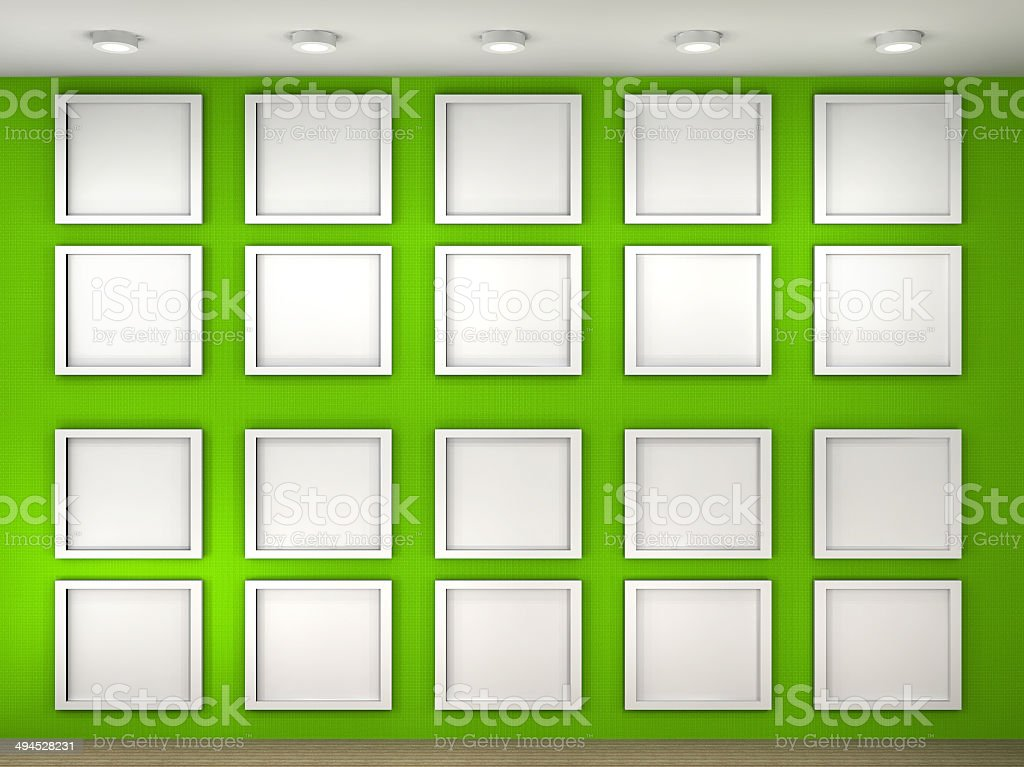 illustration of a empty museum wall with frames royalty free stock photo - Museum Frames