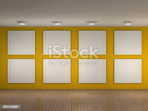 istock illustration of a empty museum with 8 frames 494348951
