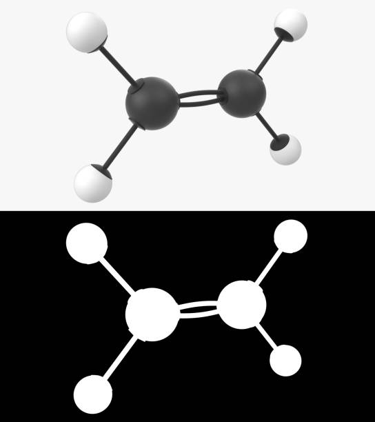 3D illustration of a ethylene molecule with alpha layer stock photo