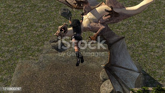 3d illustration of a female warrior leaping downward to kill a flying dragon with short swords in both hands.