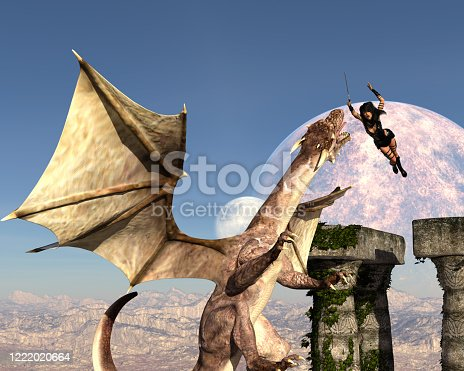 3d illustration of a female warrior leaping from ancient ruins toward a flying dragon with a sword against a full moon in the background.