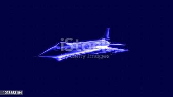 104268934 istock photo 3D illustration of a fighter jet hologram 1078383184