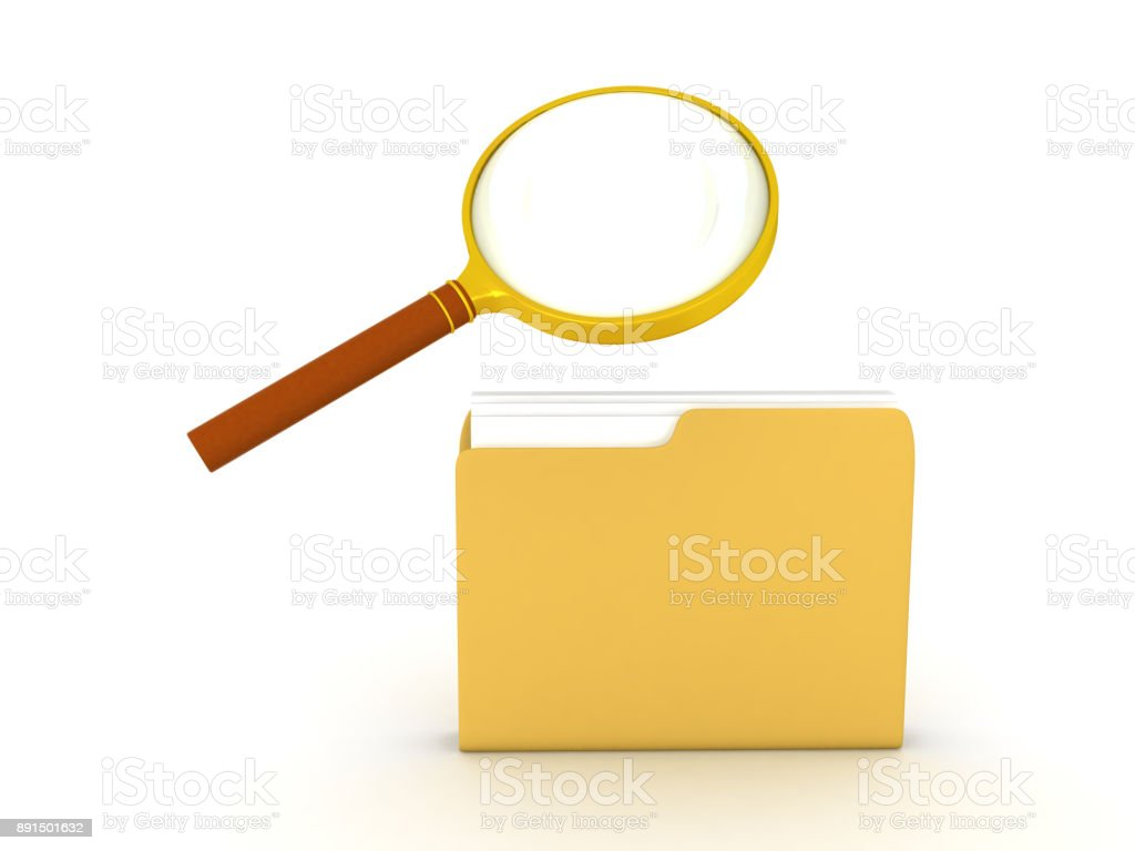 3D illustration of a folder being searched with a magnifying glass stock photo