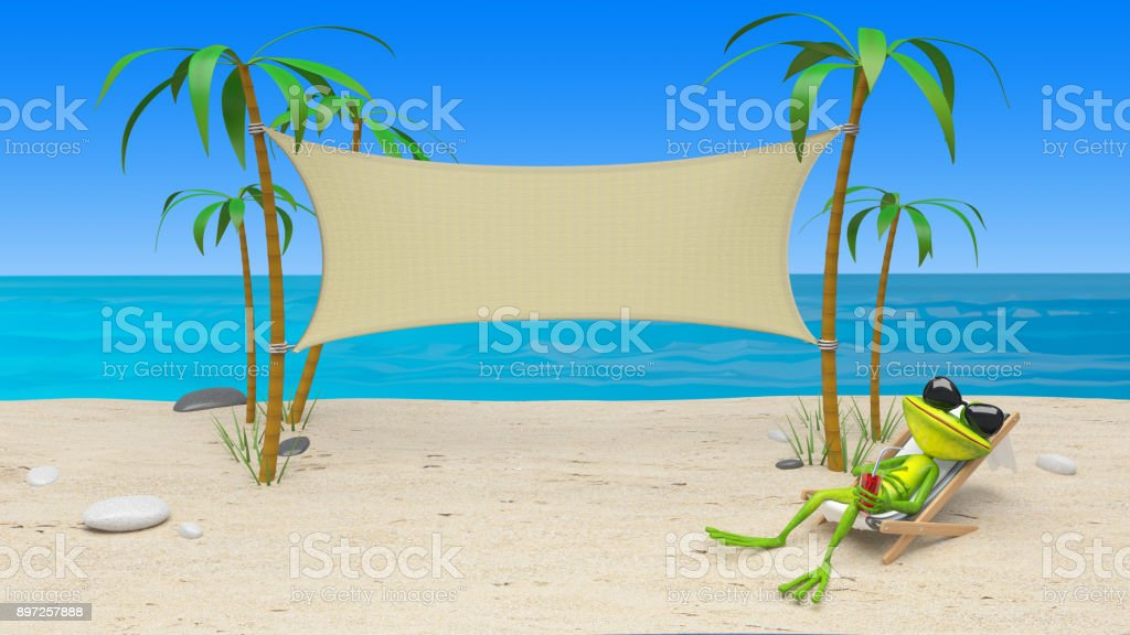 3D Illustration of a Frog in a Deckchair on the Beach stock photo