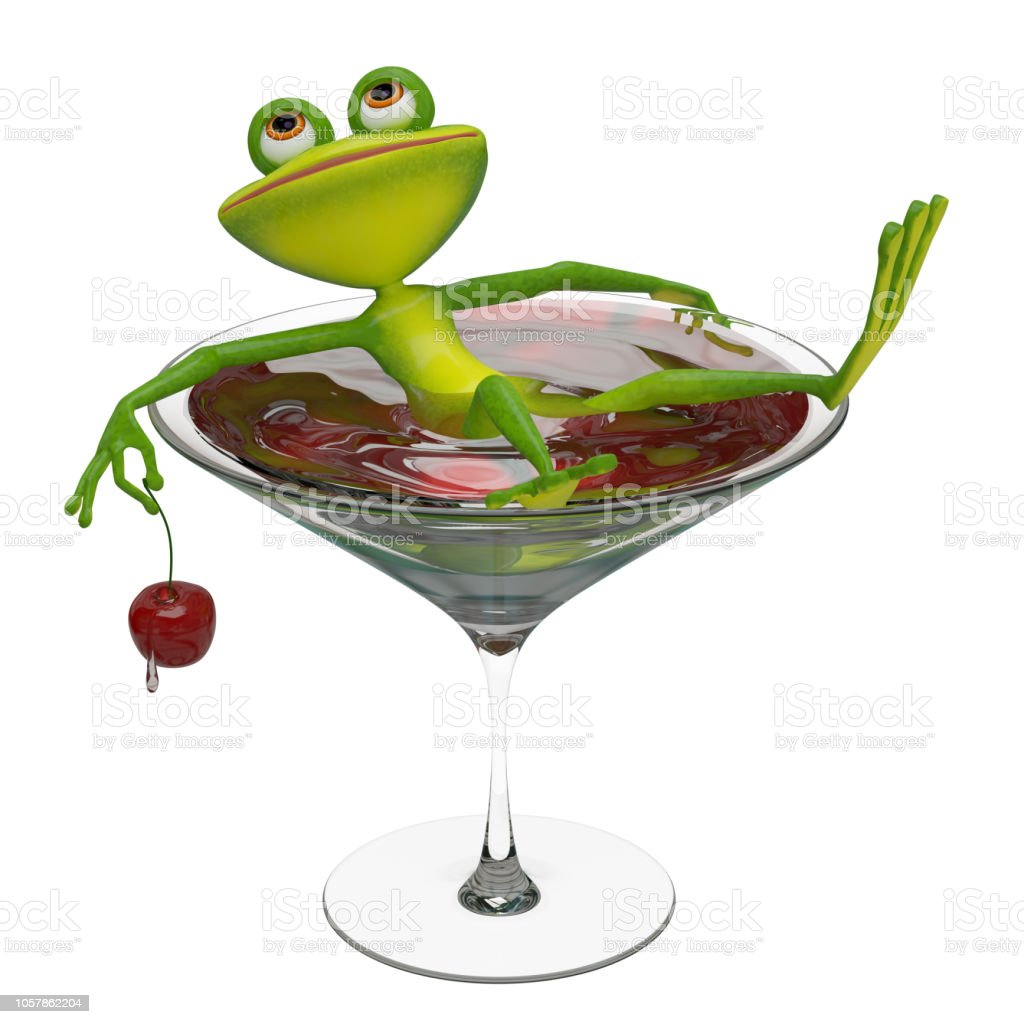 3D Illustration of a Frog in a Wine Glass stock photo