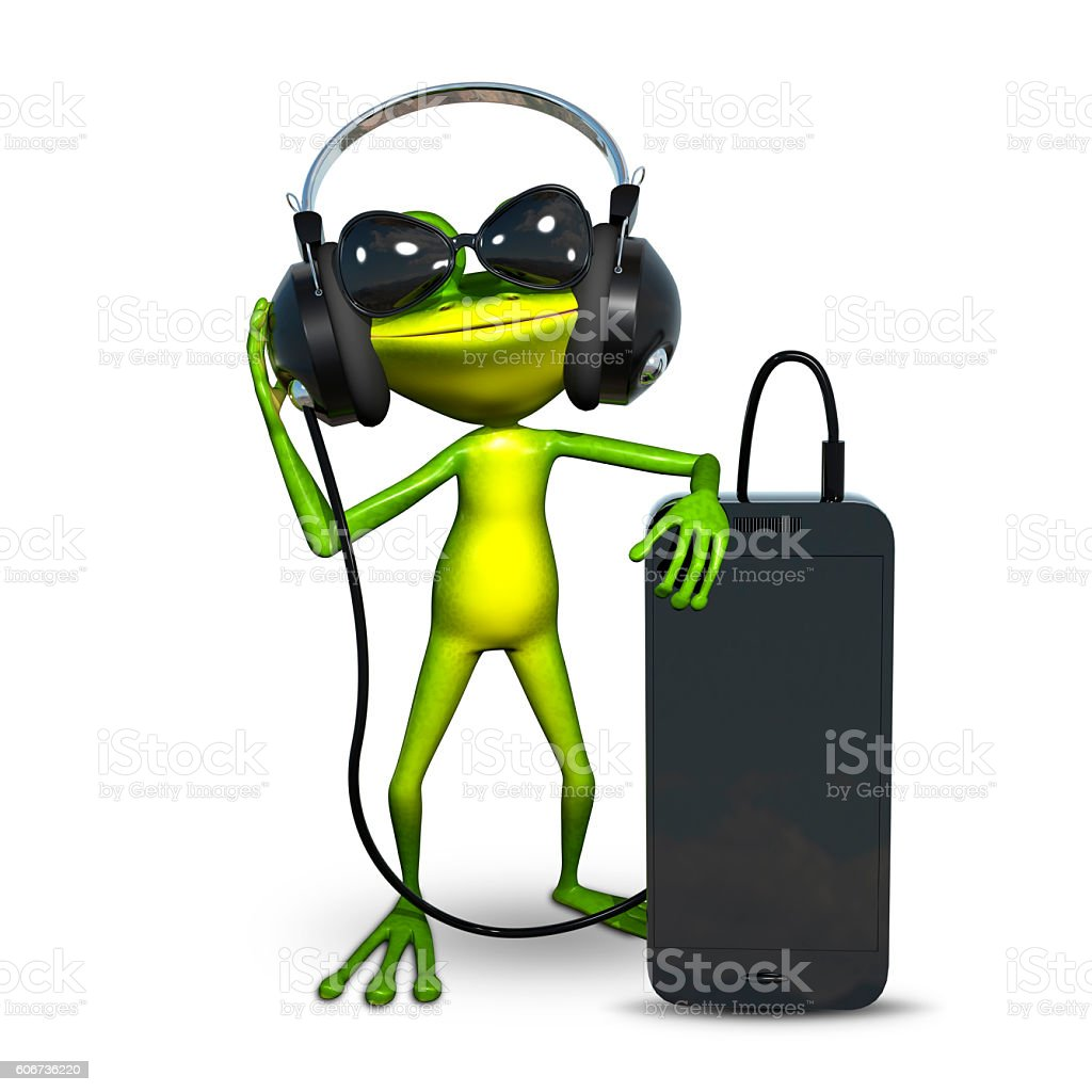 3d illustration of a frog with headphones with smartphone stock