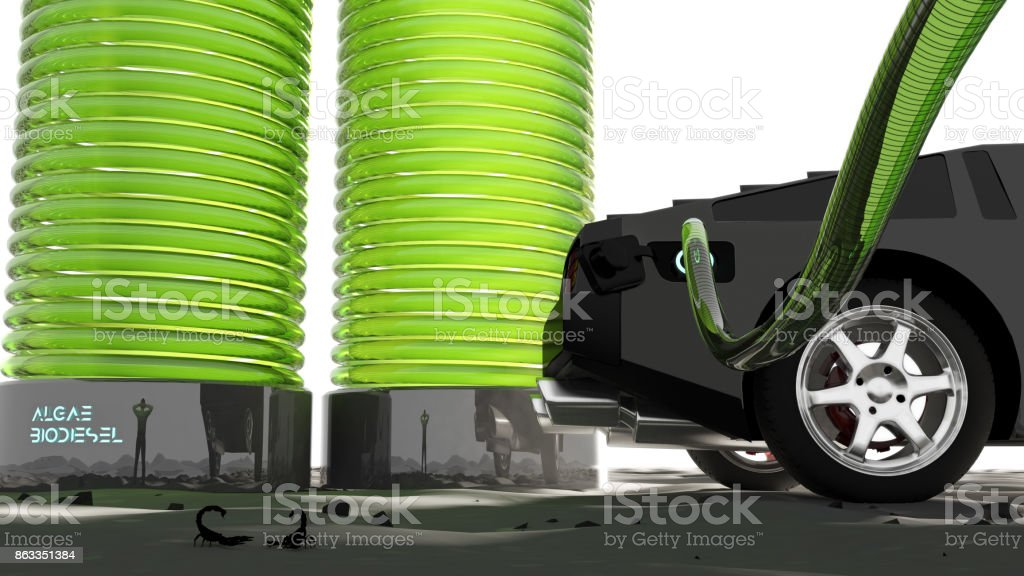 3D illustration of a futuristic algae biofuel / biodiesel fueling station stock photo