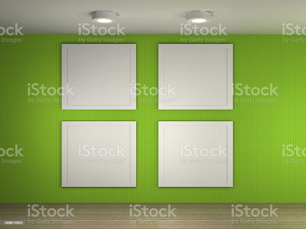 illustration of a gallery with 4 empty frames royalty free stock photo - Empty Frames