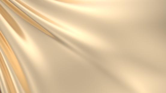 3D illustration of a golden draped background