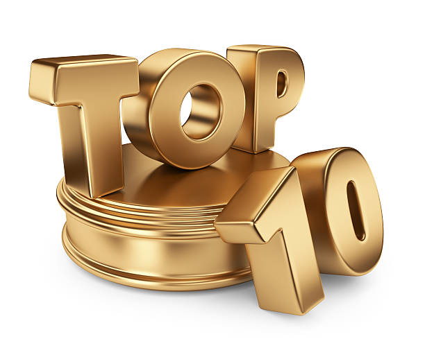 golden top 10. icône 3d isolé - partie supérieure photos et images de collection