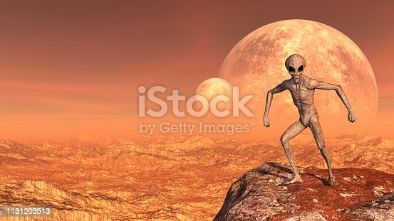 3d illustration of a gray alien in a combative comical pose atop a mountain peak with moons in the background on a red world.