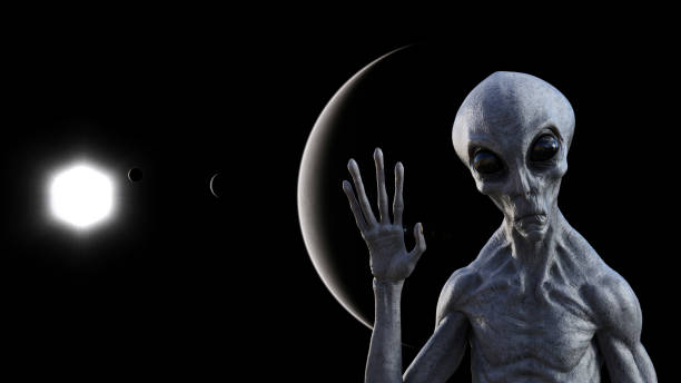 Illustration of a gray alien in space waving goodbye with a dark planets and a sun in the background. stock photo