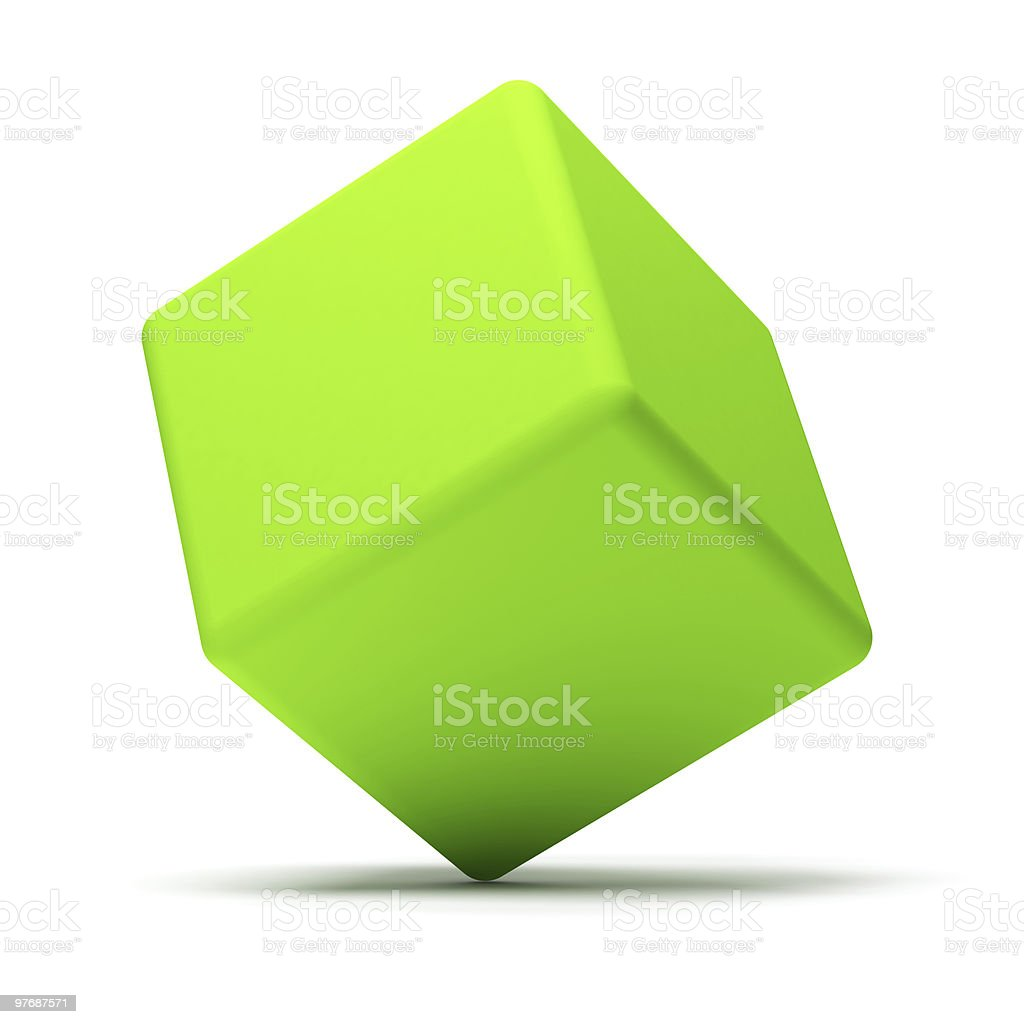 Illustration of a green cube, balancing on its corner stock photo