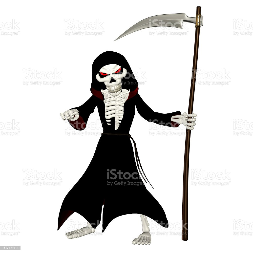 Illustration of a grim reaper angry and pointing stock photo