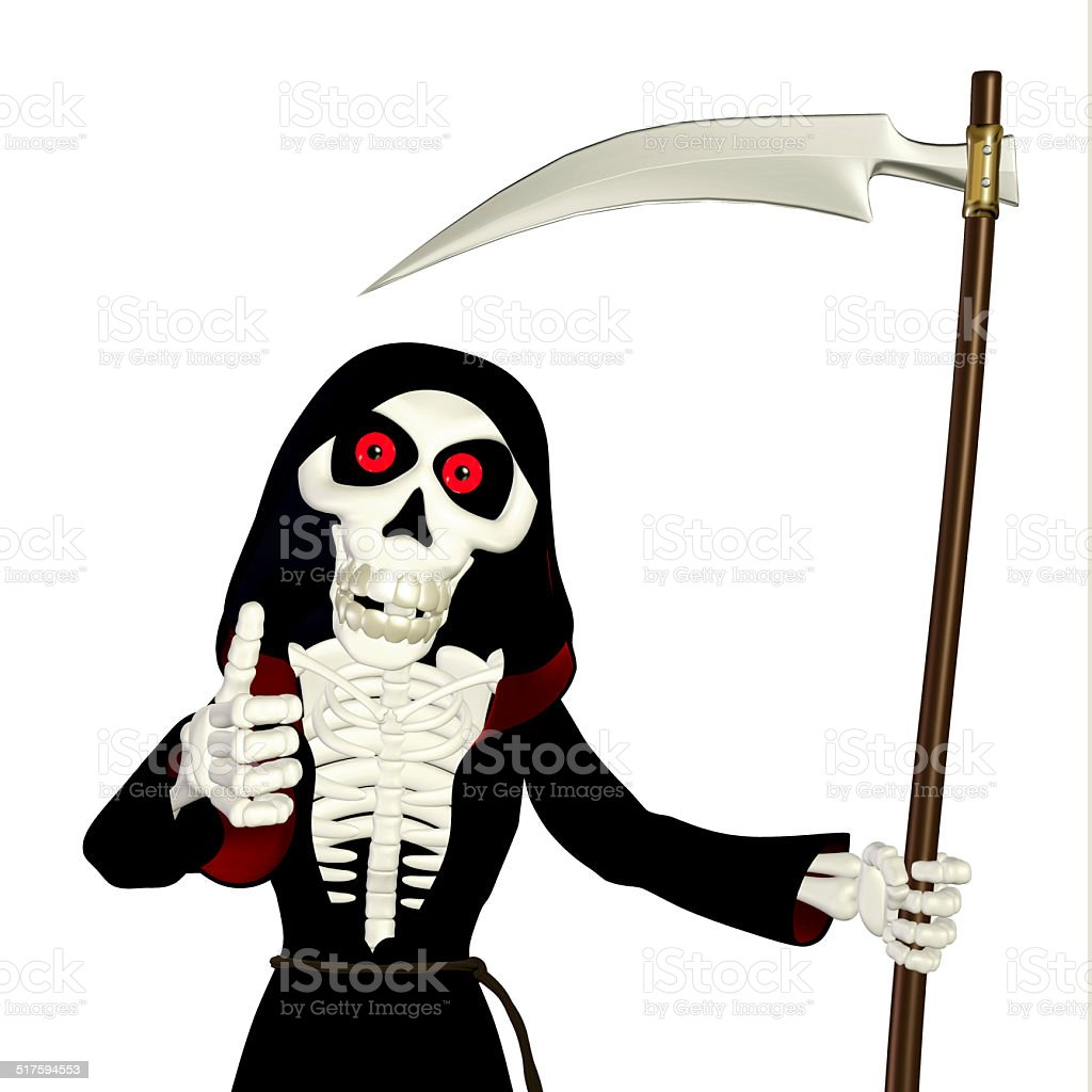 Illustration of a grim reaper giving thumbs up stock photo