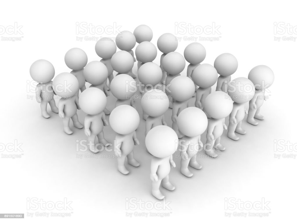 3D illustration of a group characters standing aligned stock photo