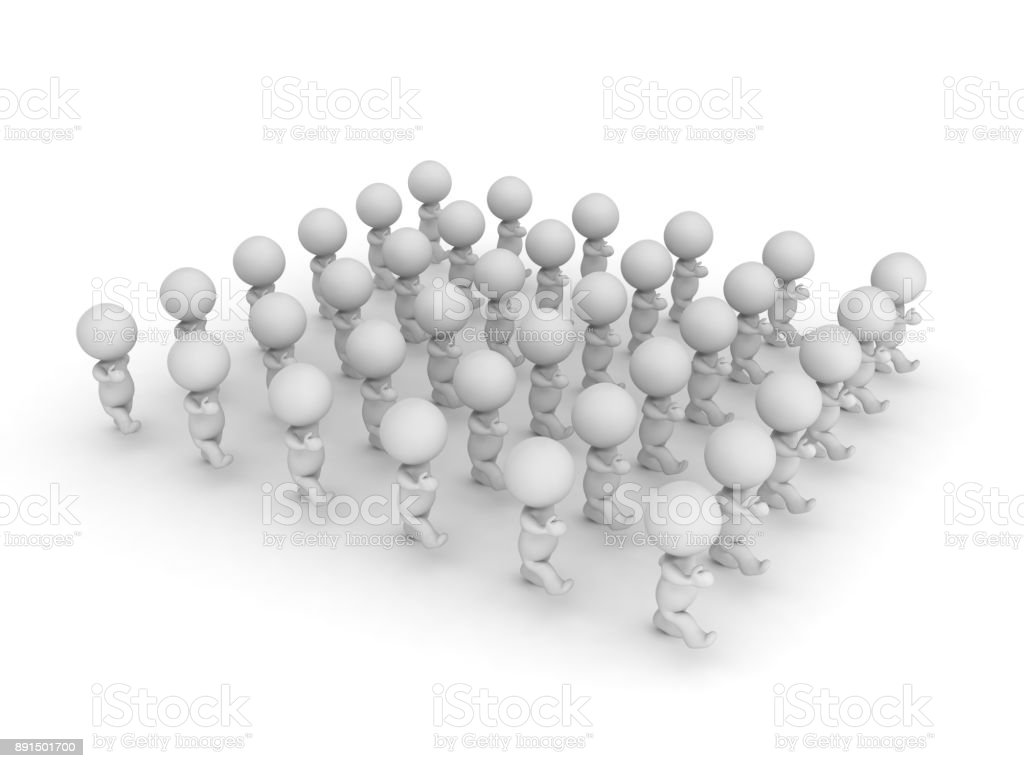 3D illustration of a group of character marching stock photo